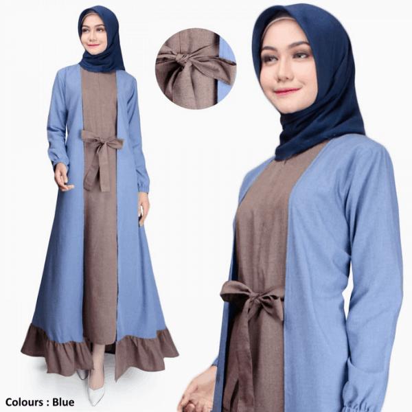Gamis Wanita Erina Maxi Dress Muslim Original Katun
