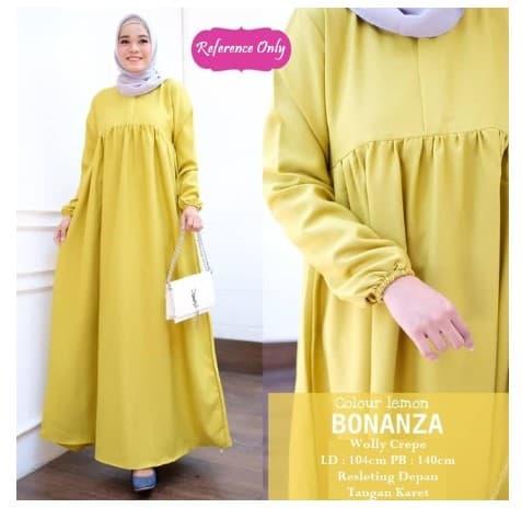 Gamis Muslim Bonanza Dress Gamis Wanita Wollycrepe