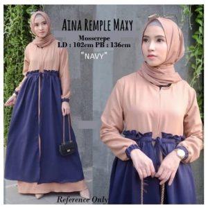 Gamis Wanita Aina Remple Maxy Dress Muslim Busui